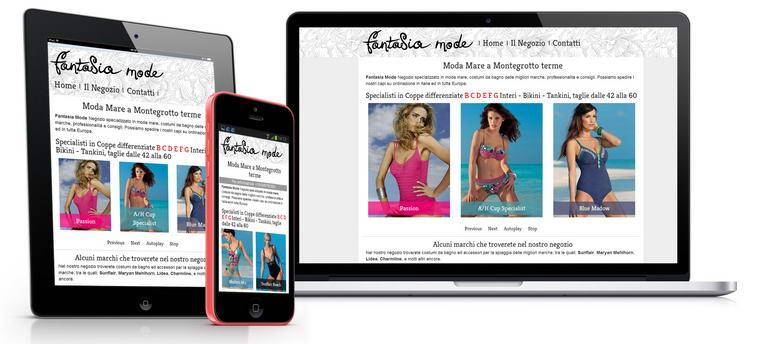 sito web di Fantasia Mode, moda mare