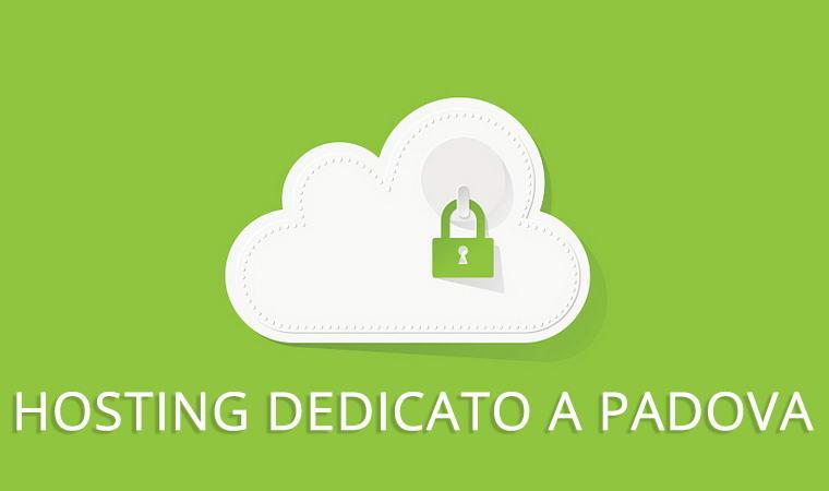 sfondo verde con una nuvola ed un lucchetto dentro e la scritta hosting dedicato a padova
