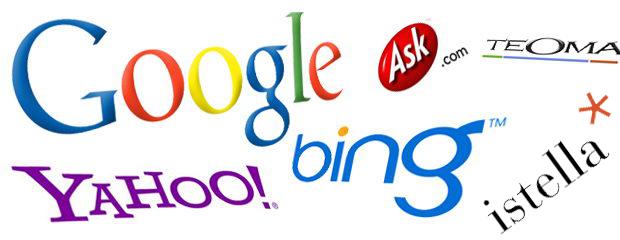 loghi dei più famosi motori di ricerca: Google, bing, yahoo, ecc.
