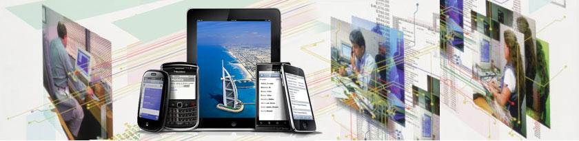 composizione immagini con persone al lavoro e dispositivi per visualizzare internet