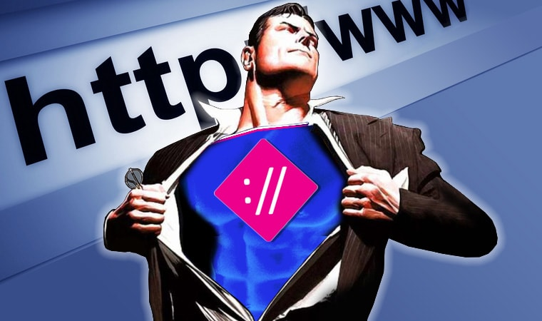 superman con il logo egobyte e dietro http e www