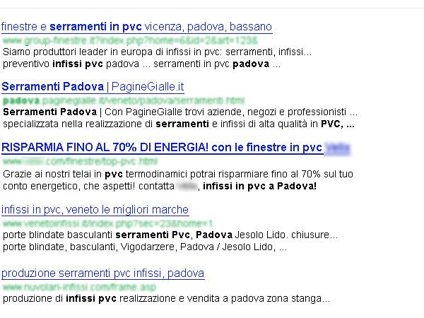 rappresentazione dei risultati di ricerca di Google